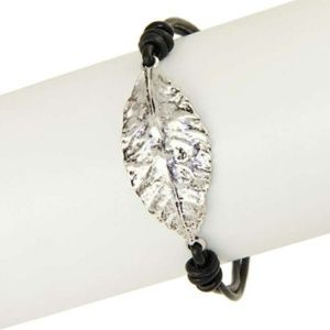 Jewelry - Silver and black leather leaf bracelet